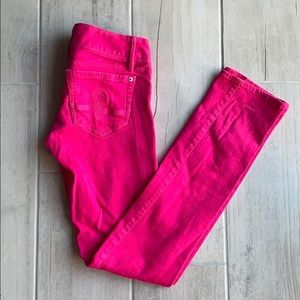 Lilly Pulitzer pink worth skinny jeans. Size 0